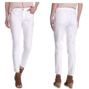 EILEEN FISHER White Cotton Ankle Skinny Jeans